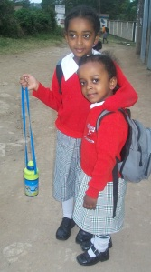 Fasika and Shamna coming from school