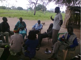 Pastor David leading a discussion from a bible story