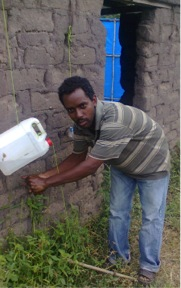 In CHE we teach people how to make and use a Tippy Tap for washing hands