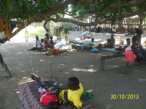Admitted under trees, most of them due to malaria.